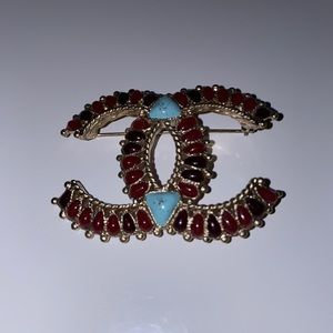 Authentic Chanel Dallas turquoise brooch pin